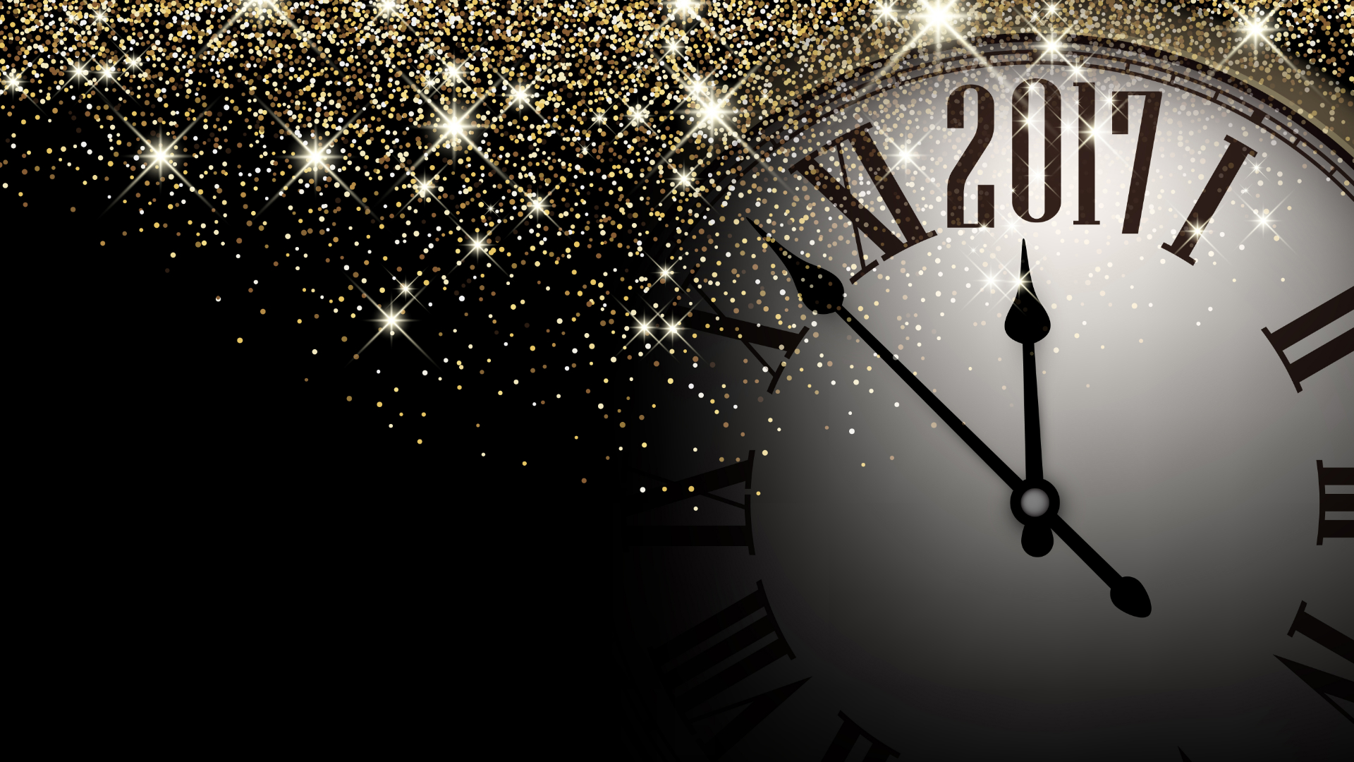 Black 2017 New Year shining background with clock. Vector illustration.